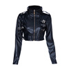 Ladies PU fabric with beading trim round neck long sleeves garment manufacturer high quality PVC jacket