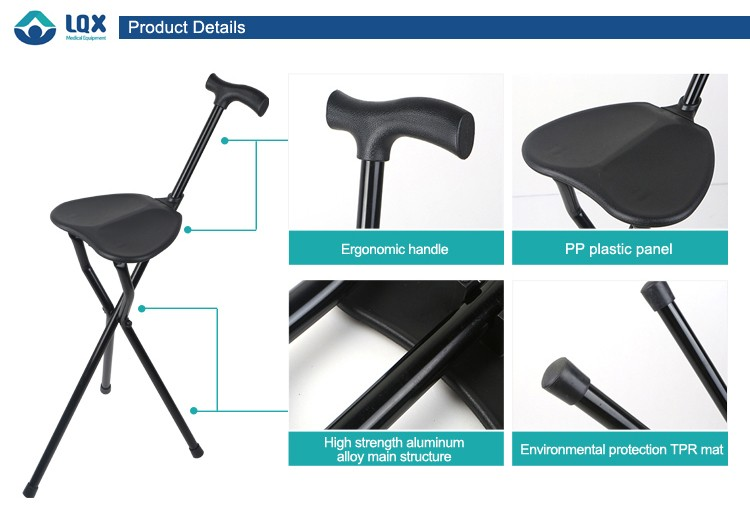Hot Sales Three Legged And Chair Folding Walking Cane Seat
