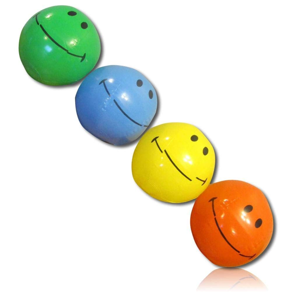 "ULTRA Durable & Custom {6"" Inch} 6 Pack of Small-Size Inflatable Beach Balls for Summer Fun, Made of Lightweight FLEX-Resin Plastic w/ Bright Happy Smiling Expressive Emoji Face Style {Multicolor}"