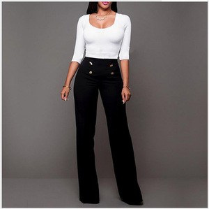 2017 High Waist Flare Wide Leg Pants Plus Size Women Trousers Female Casual Stretch Long ladies office trousers
