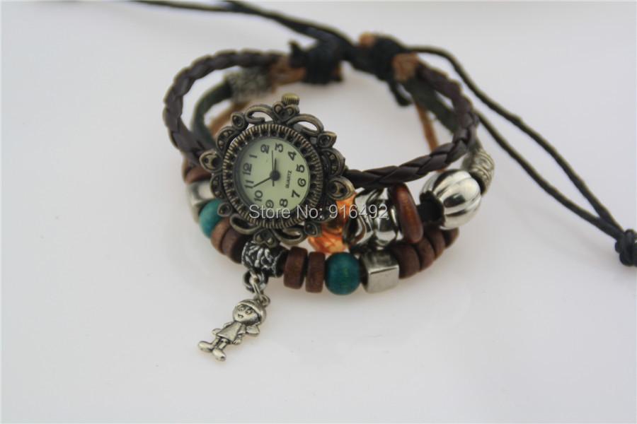 Старинные часы женщина кожа бусины браслет часы женская часы-брошь стильных женщин свободного покроя кварцевые часы