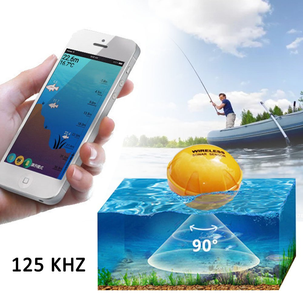PiscatorZone Wireless Remote Sonar Sensor Fish Finders Intelligent Fish Detector for Boats Transducer,Visual High-definition LCD Display in Cell Phone Bluetooth, Water Depth