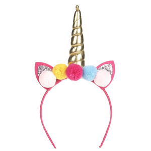 New arrival Fashion baby girl toddler glitter sequin cat bunny ear bow pom pom unicorn hair band headband