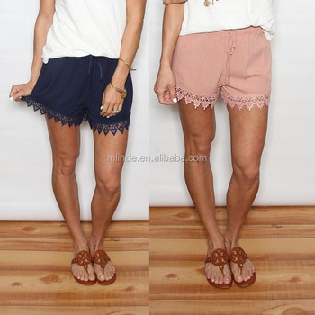 Lace Crochet Detail Shorts Extender For Summer