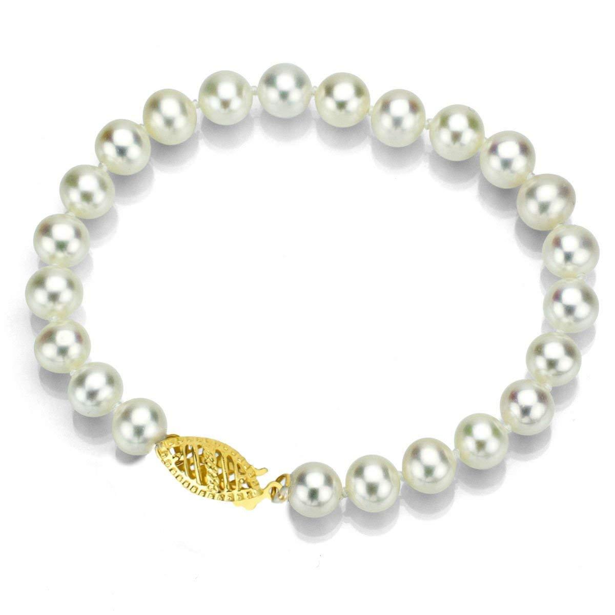 "La Regis Jewelry 14k Yellow Gold 8-8.5mm White Freshwater Cultured High Luster Pearl Bracelet, 7"""