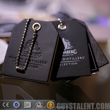 custom private hot stamping logo PU leather bottle neck hang tag