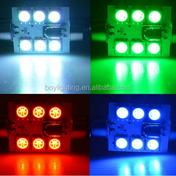 Colorful Car Interior LED Dome Light DC 12V 6SMD RGB 5050 Festoon Lighting  Lamp Bulb With