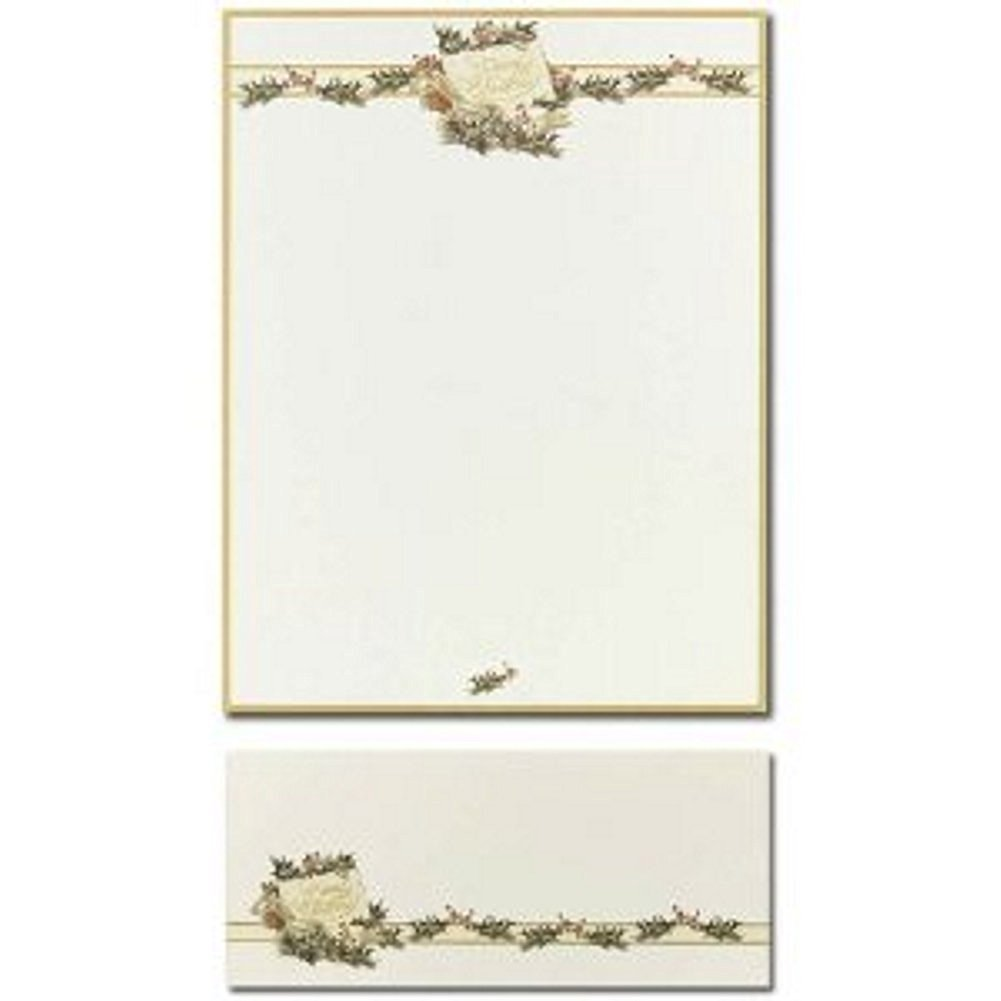 Vintage Holly Letterhead and Vintage Holly Envelopes - 80 Pack