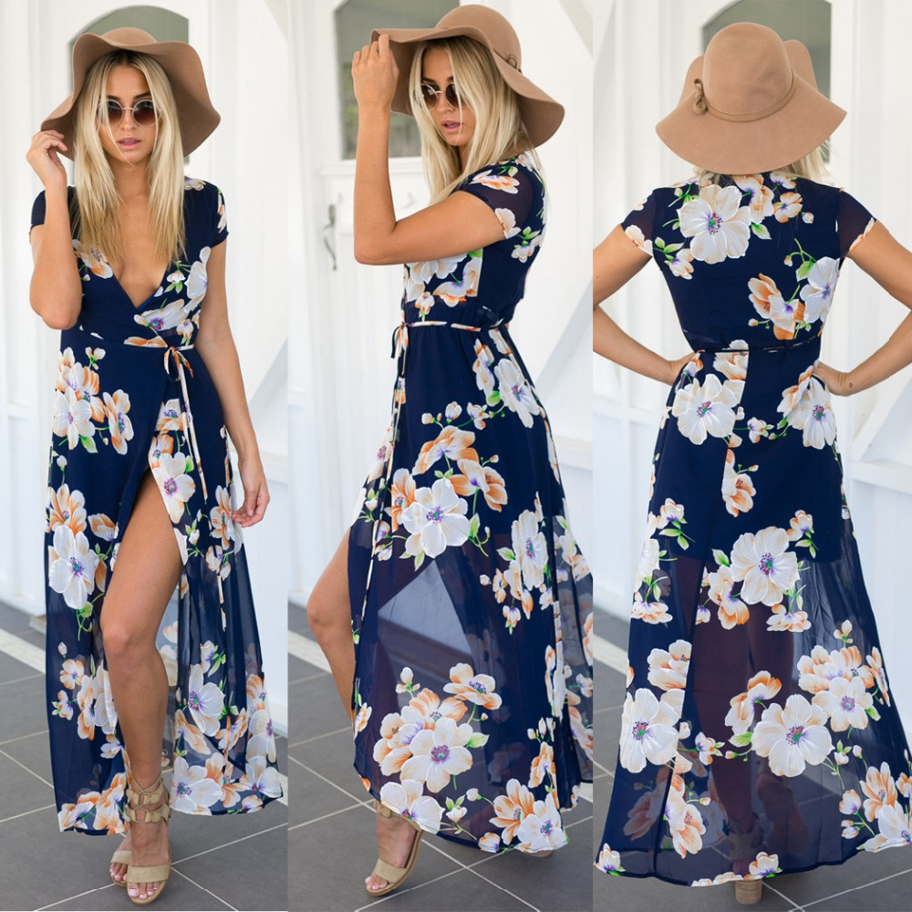 New Fashion Women Ladies Sexy Short Sleeve Crossover Neck Lace Up Asymmetric Hem Split Floral Maxi Beach Chiffon Long <strong>Dress</strong>