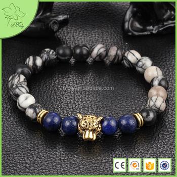 Charm Design Leopard Lion Head Natural Stone Men Bead Bracelets