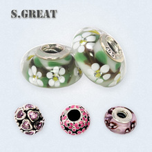 silver 925 cheap imitation replica beads Fit pandora wholesale crystals pearl charms beaded fit pandora jewelry