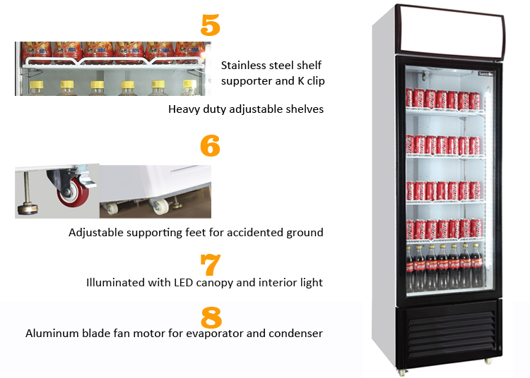 upright display showcase pepsi glass chiller freezer