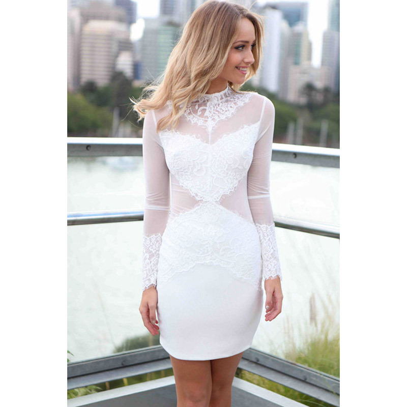 aad5a9e9cc9 Get Quotations · Women Bandage Dress 2015 Sexy Womens Summer O neck Long  Sleeve Bodycon Lace White Vintage Dress