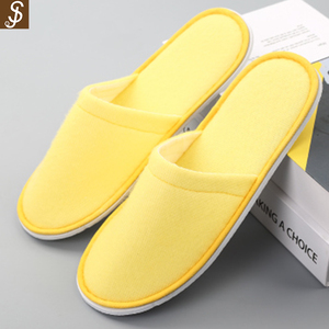 S&J yellow thick sole 100% cotton easy washable hotel kito slipper