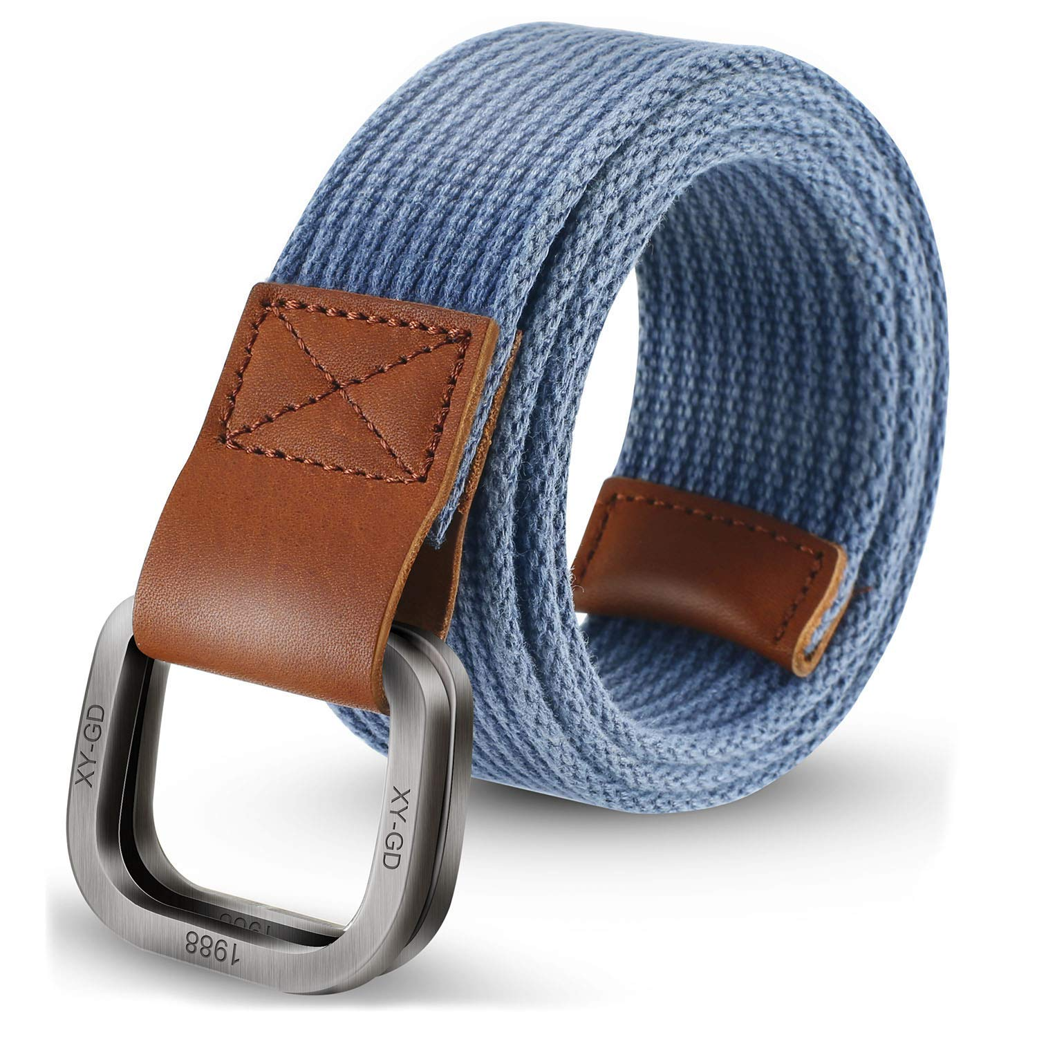 3276bfabc2a Get Quotations · ITIEZY Men s Canvas Belt Military Style Double D-Ring  Buckle Casual Webbing Belt