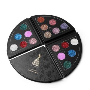 OEM cosmetic Brand 6 Colors Fan Shaped Big Shimmer Metallic Eyeshadow Palette Sparkle Glitter Diamond Eye Shadow Waterproof Cosm