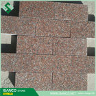 Shandong rose red granite paving cubes, cobble landscaping stone