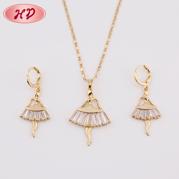 Wholesale 18K Fancy Girlmodel Indian Fashion Gold Plated Womens Necklace Set