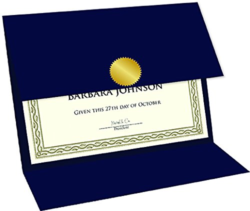 """Geographics Tri Fold Navy Certificate Holder, linen texture, 9.25"""" x 12.5"""", 5/Pack (47837)"""