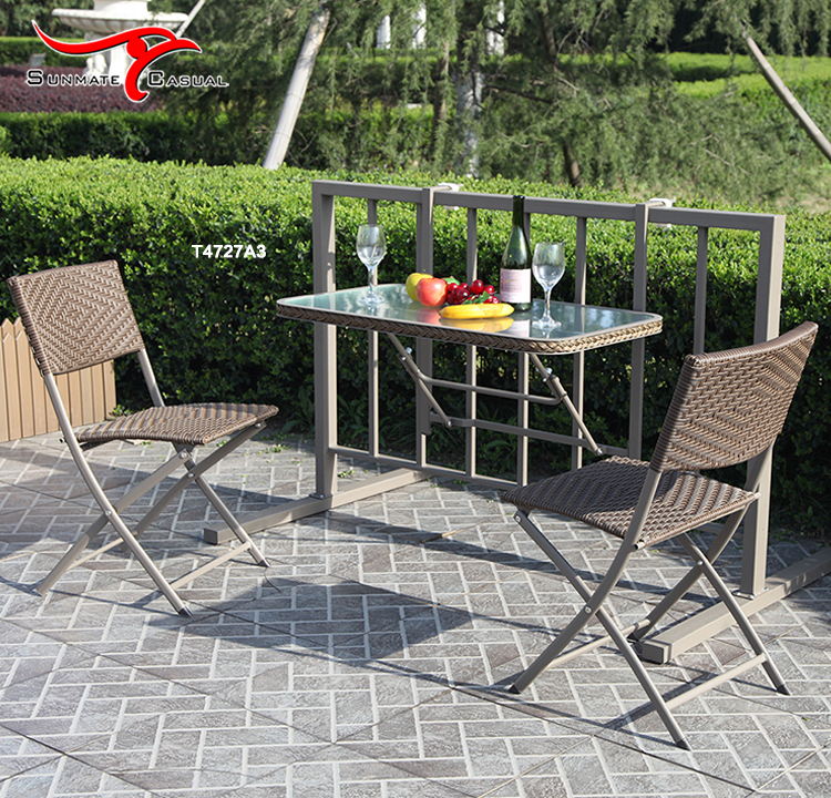 Outdoor Rattan Wicker Furniture Wall Mounted Balcony Hanging Folding Space Saving Dining Table and Chairs
