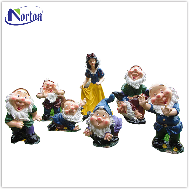 Theme park decorations cartoon characters fiberglass snow white and the seven dwarfs statue NTFC-129Y