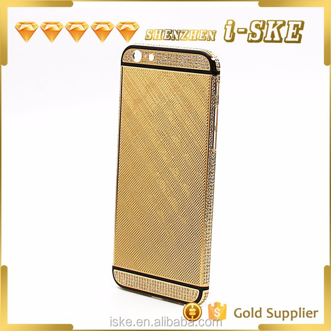 Wholesale price from shenzhen factory for iphone 6 24k gold plated crystal housing
