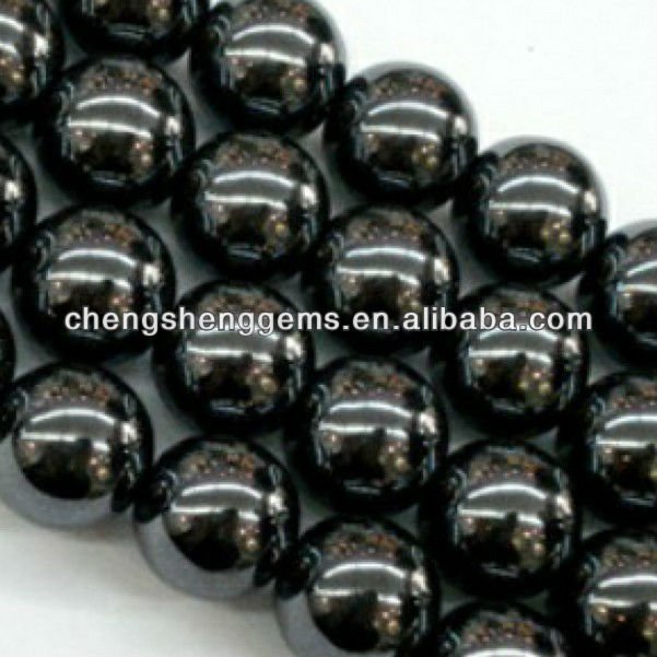 12mm natural round smooth magnetic hematite loose gems beads