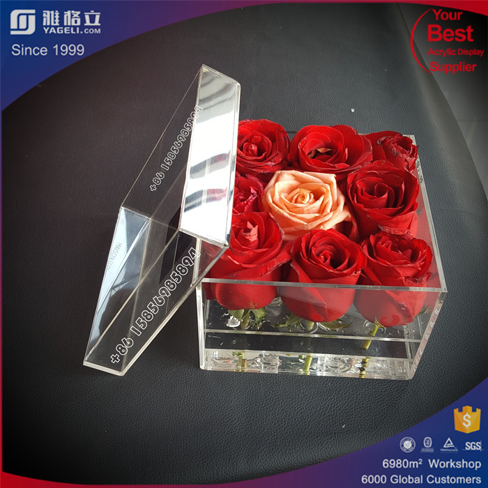 Custom clear flowers gift box 3 tier flower container/acrylic rose boxes