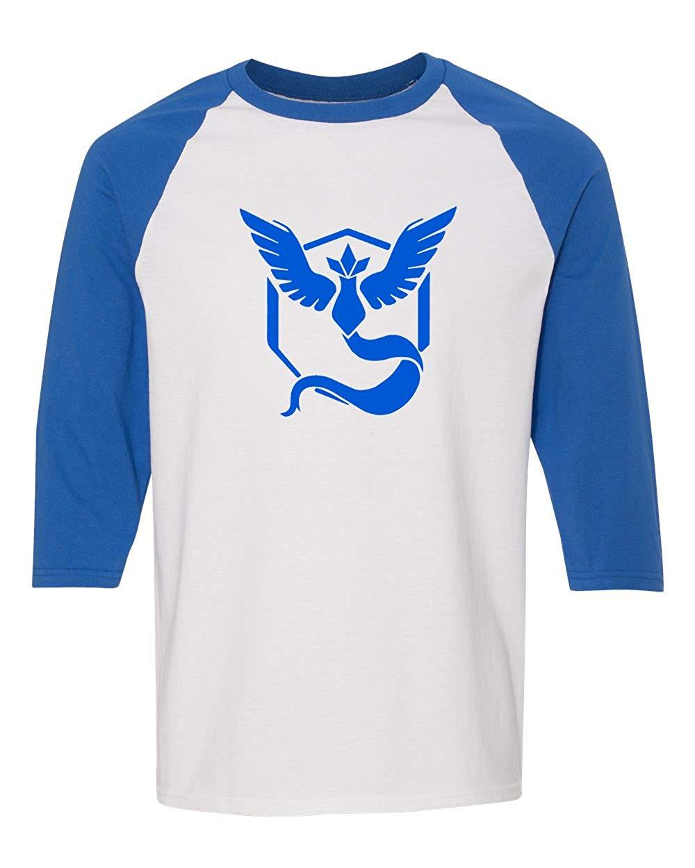 d58ed8f3 Get Quotations · Custom Apparel R Us Pokemon Go Gym Team Mystic Blue Mens  Womens 3/4 Raglan