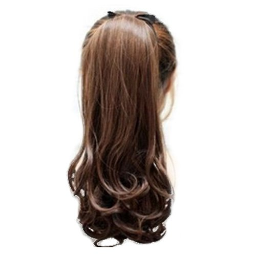 SODIAL(R)Synthetic False Hair Ponytails Pad pony Tail Curly Piece Long Wavy Clip In Wrap Around Ponytail Fake Hair Extensions Hairpiece Light Brown