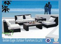 Modern romantic outdoor garden plastic rattan patio furniture sofa