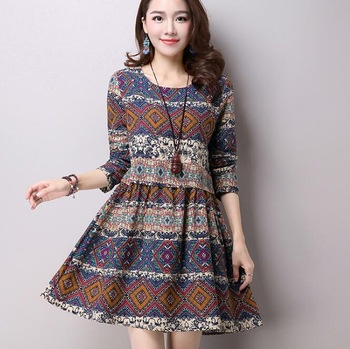 f8c10c722ed zm31883a women one-piece dress vintage printing long sleeve linen dresses