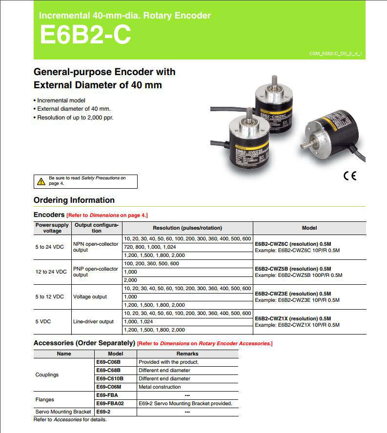 Best price Hollow shaft 5000 ppr optical mini rotary encoder Omron E6B2-C