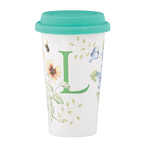 Ceramic porcelain double walled coffee travel mug with silicone lid