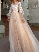 Свадебные платья с длинными рукавами и аппликацией; Свадебное платье из фатина цвета шампанского с высоким вырезом; Свадебное платье; Беспл...(Китай)