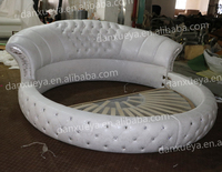 Bedroom Furniture Modern Design White Leather Round Bed for Hotel