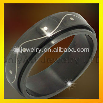 simple design black plated stainless steel roller ring