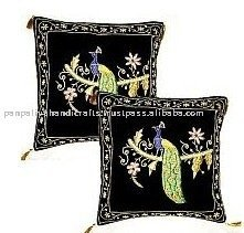 Intricate Hand Embroidery cushion cover with gold & silver threads (Zardosi) work