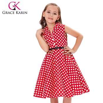 d46b2423df4c Grace Karin Girls Summer Dress Kids Vintage 50's Dress Retro Vintage  Sleeveless Lapel Collar Red Polka