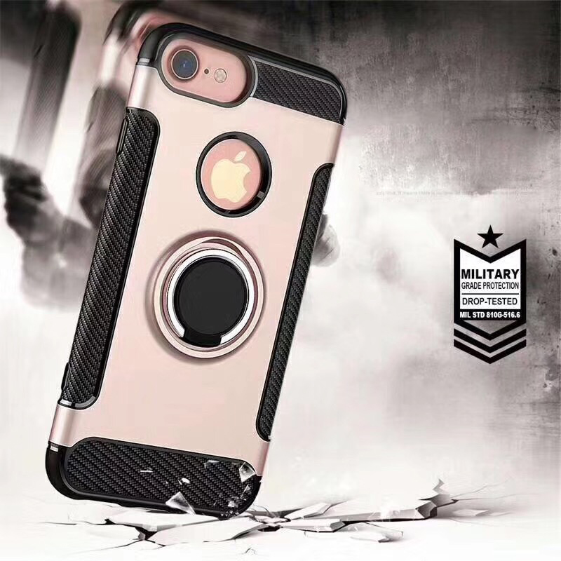 Best Selling carbon fiber ring hybrid case pc tpu for iphone x
