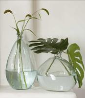 Round terrarium bowl bud rose flower glass vase unique design special blown manufacture handmade