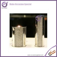 K4057 Long-stemmed Crystal Art Glass Candle set of 3 pillar holders