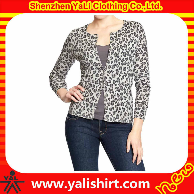 New design high quality fitness cotton trendy women leopard print knitted spring thin cardigan women
