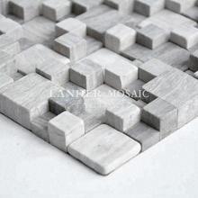 Lander Stone gray wood marble mosaic rubik's cube design 3d mosaic for the bar background