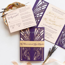 navy blue Great Gatsby Vintage Inspired Lasercut Wedding Invitations with Gold Foil & gold belt wholesale
