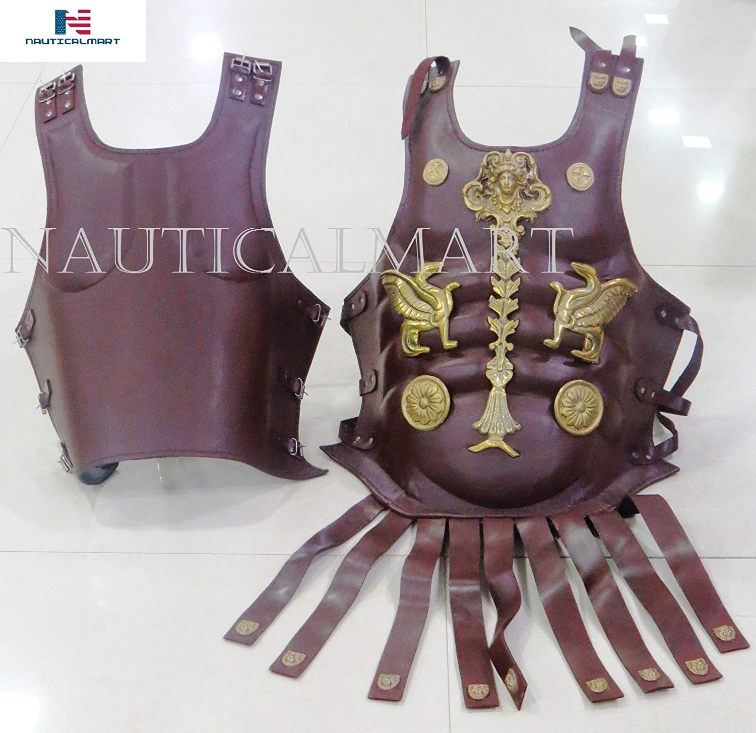 NAUTICALMART Leather Muscle Armor Medieval Roman Cuirass Heavy Chest Plate Armor
