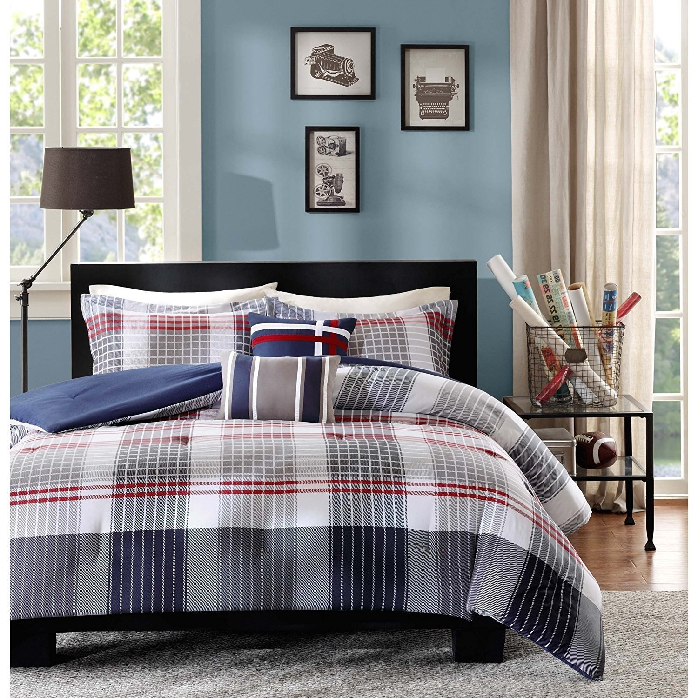 OSD 5pc Boys Grey Red Navy Blue Madras Glen Plaid Theme Comforter Full Queen Set, Stylish Tartan Check Plaided Bedding, Horizontal Vertical Stripe Lodge Cabin Themed Pattern