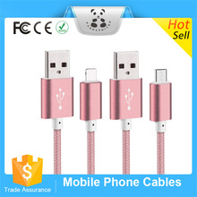 Wholesale Durable Nylon Line and Metal Plug Sync Data Charging Micro USB Cable for iPhone 6s 6 plus 5s Samsung HTC