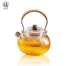 Chinese heat resistant pyrex glass teapot with copper handle and copper bead