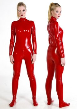 nappa sheep leather sexy catsuit in dashing red color buy sexy suit product on. Black Bedroom Furniture Sets. Home Design Ideas